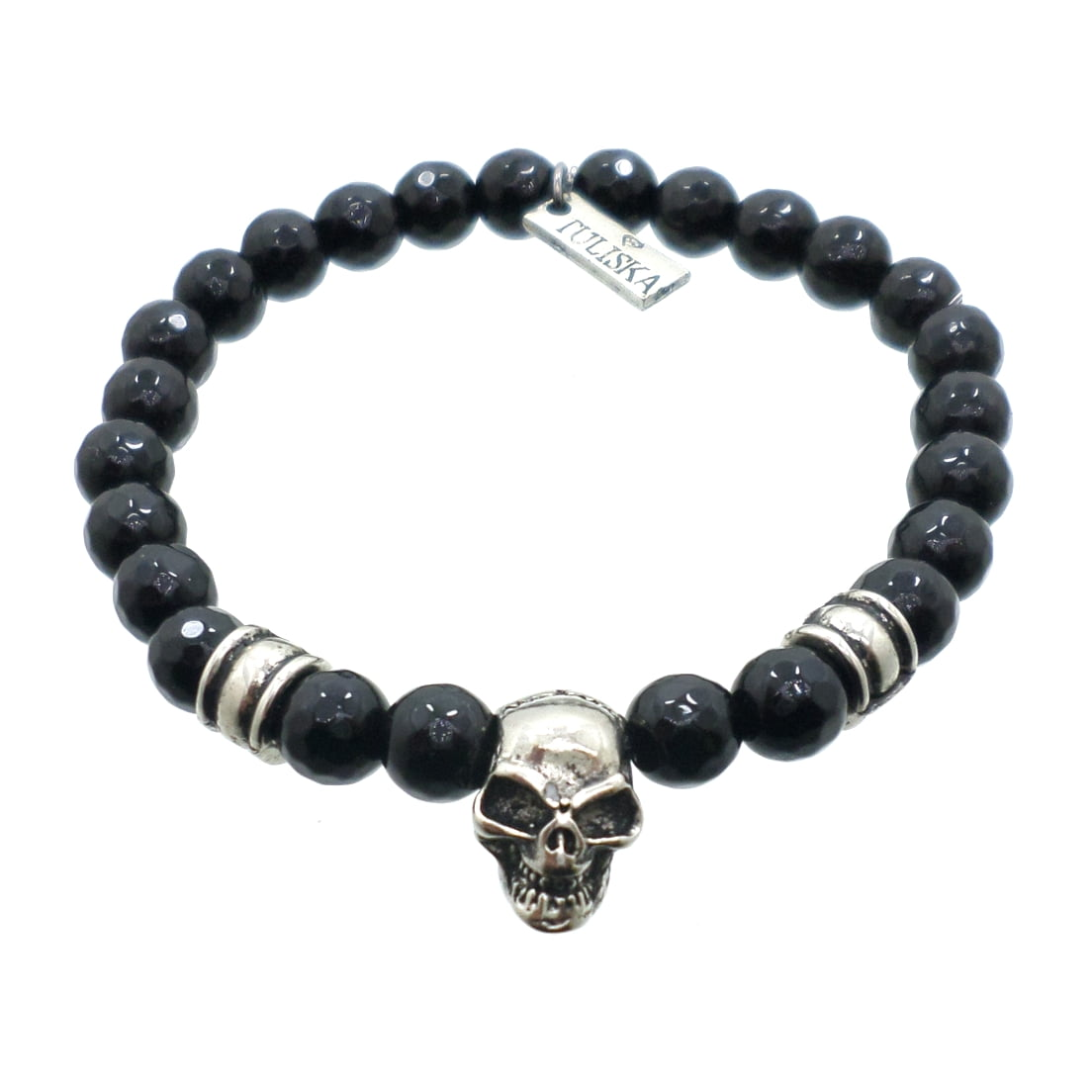 Pulseira Pedra Onix Skull Preta