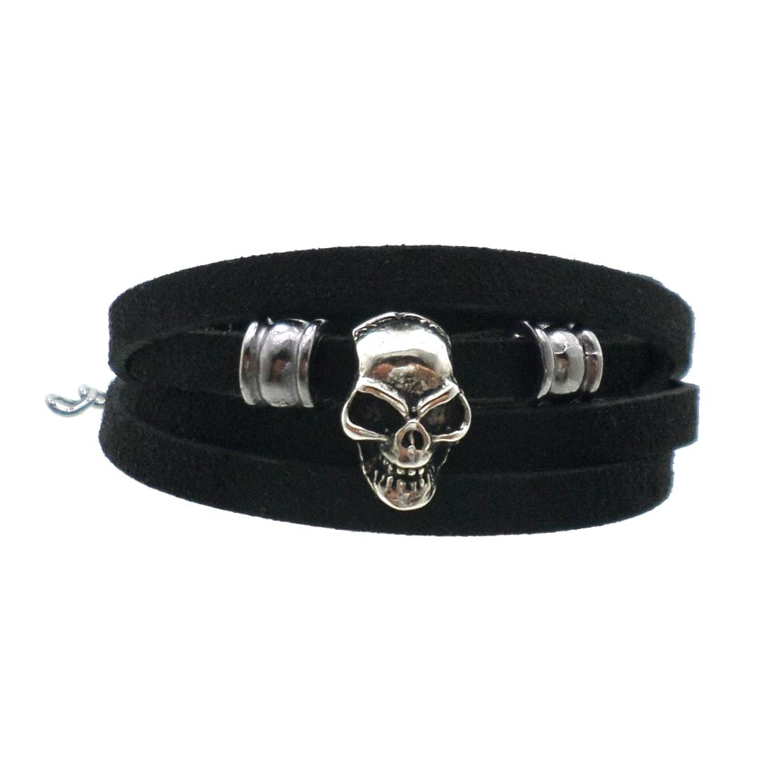 Pulseira Camurça Preta - Skull